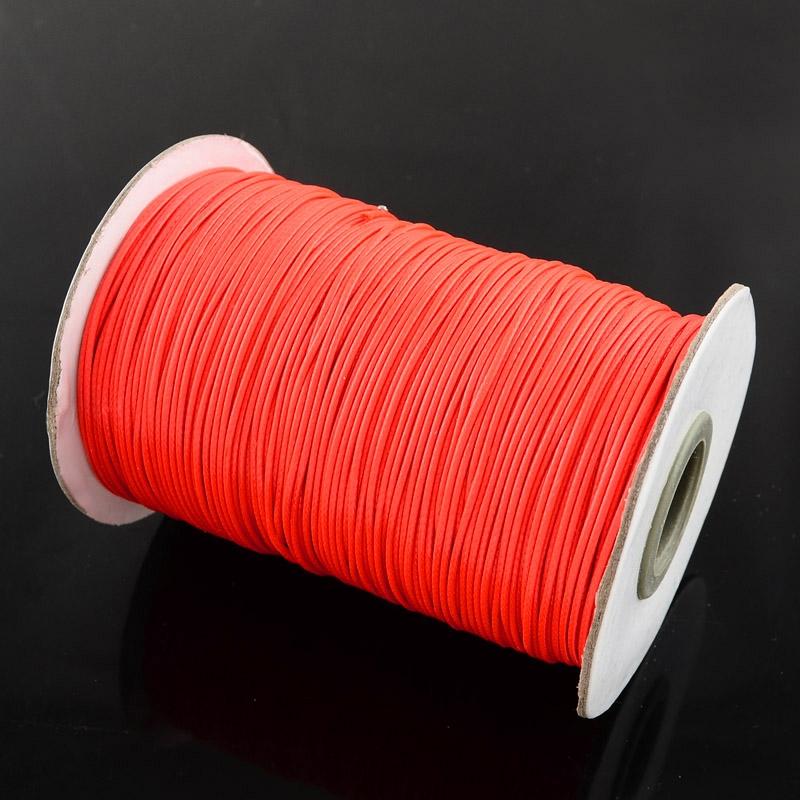 32c45abb4f Voskovaná šnúrka 1 mm - lesklá - červená neon