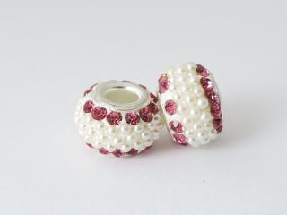 Pandora style - plastová korálka s kamienkami - ružová - 1 ks empty 1c6bf1b39d3