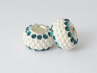 Pandora style - plastová korálka s kamienkami - smaragdová - 1 ks empty 7b7a3bed4ba