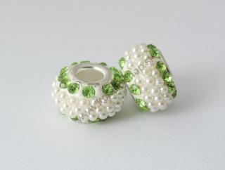 Pandora style - plastová korálka s kamienkami - zelená - 1 ks empty ff3c7868daa