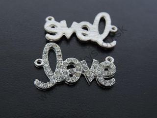 "Medzikus ""LOVE"" - 35 x 23 mm - platina - 1ks"